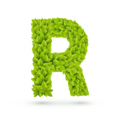 r: 3d green leaves alphabet R isolated on white background Illustration