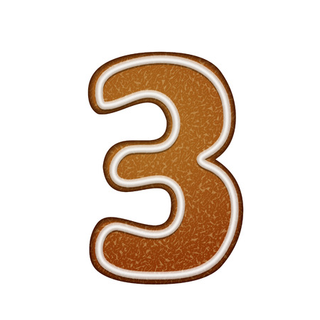 number 3: 3d lovely gingerbread cookie number 3 isolated on white background Illustration