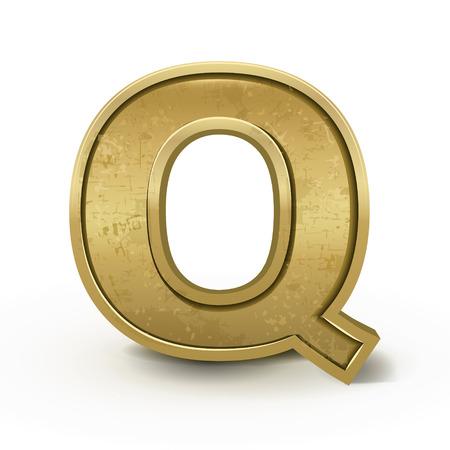 letter q: 3d retro golden letter Q isolated on white background Illustration