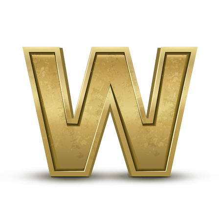 w: 3d retro golden letter W isolated on white background Illustration