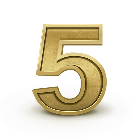number 5: 3d retro golden number 5 isolated on white background