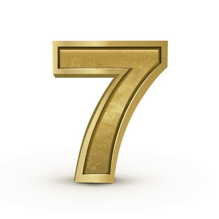 number 7: 3d retro golden number 7 isolated on white background Illustration