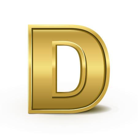 letter d: 3d bright golden letter D isolated on white background
