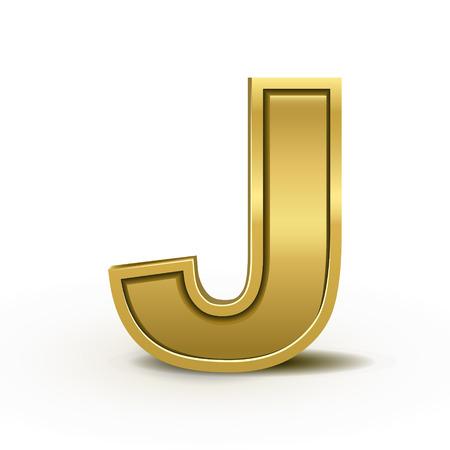 letras de oro: 3d carta de oro brillante J aisladas sobre fondo blanco