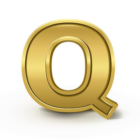 letter q: 3d bright golden letter Q isolated on white background