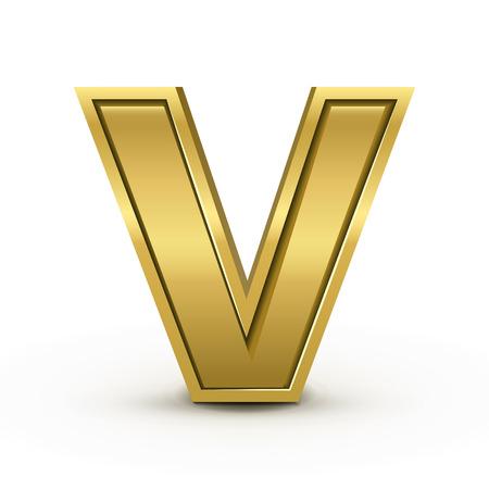 letter v: 3d bright golden letter V isolated on white background