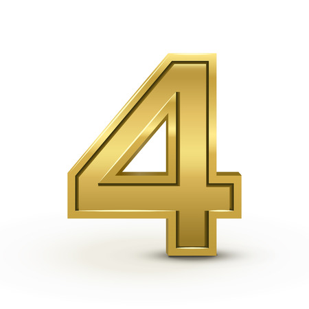number 4: 3d bright golden number 4 isolated on white background Illustration