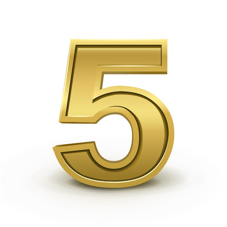 number 5: 3d bright golden number 5 isolated on white background