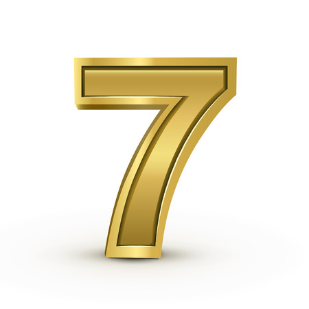 number 7: 3d bright golden number 7 isolated on white background