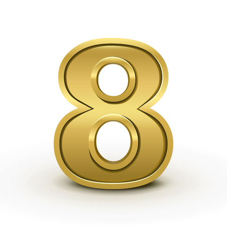 number 8: 3d bright golden number 8 isolated on white background