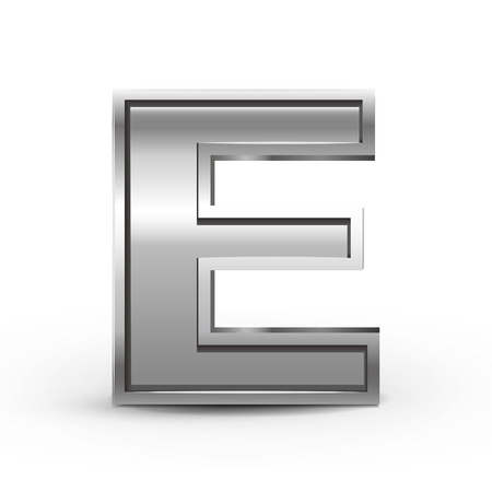 silver metal: 3d metal letter E isolated on white background