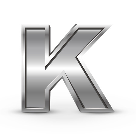 3d metal letter K isolated on white background Vector