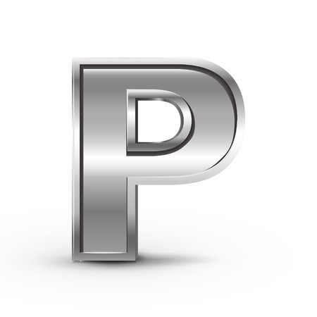 p illustration: 3d metal letter P isolated on white background