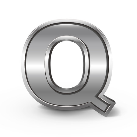 letter q: 3d metal letter Q isolated on white background