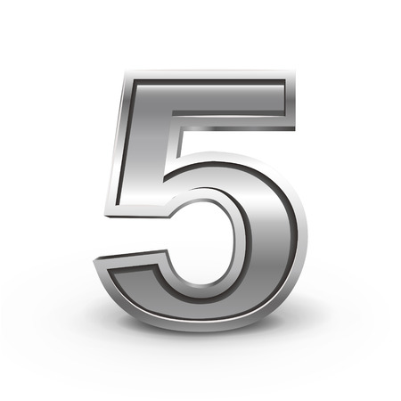 number 5: 3d metal number 5 isolated on white background