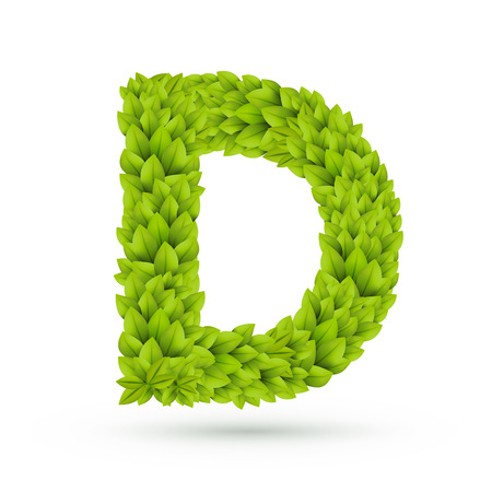 3d green leaves alphabet D isolated on white background