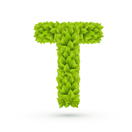 t background: 3d green leaves alphabet T isolated on white background Illustration