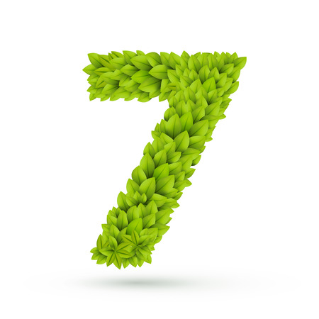 number 7: 3d green leaves number 7 isolated on white background