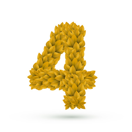 number 4: 3d yellow leaves number 4 isolated on white background