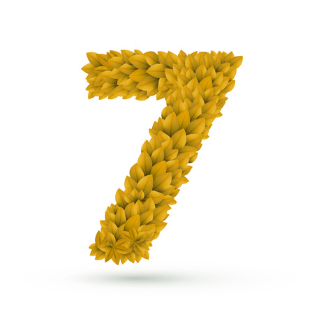 number 7: 3d yellow leaves number 7 isolated on white background Illustration