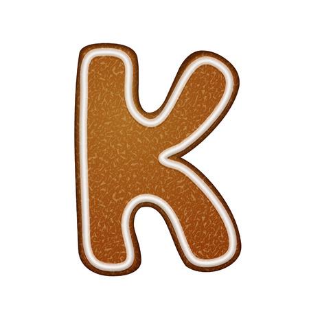 letter k: 3d lovely gingerbread cookie alphabet K isolated on white background Illustration