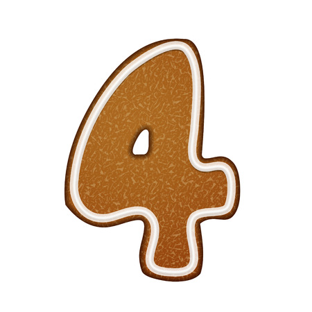 number 4: 3d lovely gingerbread cookie number 4 isolated on white background