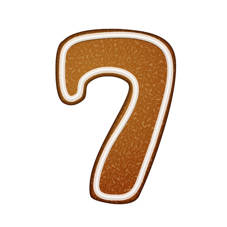 number 7: 3d lovely gingerbread cookie number 7 isolated on white background