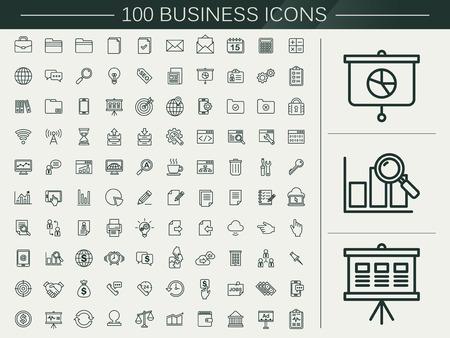 100 business line pictogrammen die op beige achtergrond