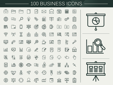 100 business line icons set over beige background Vectores