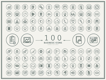 100 business round icons set over beige background