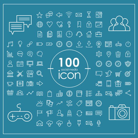 share icon: 100 social media icons set over blue background