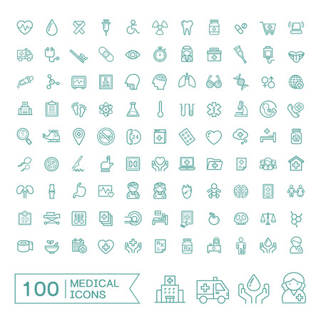 medicine icons: 100 medical icons set over white background