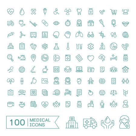 100 medische pictogrammen instellen op een witte achtergrond Stock Illustratie