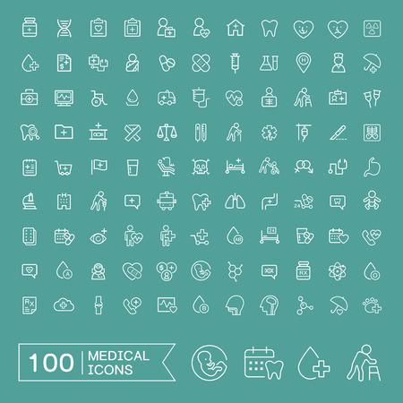 emergencia medica: encantadores 100 m�dicos iconos conjunto sobre fondo turquesa Vectores