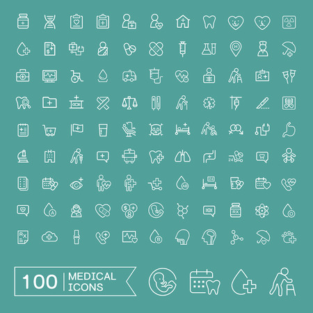 lovely 100 medical icons set over turquoise background Ilustrace