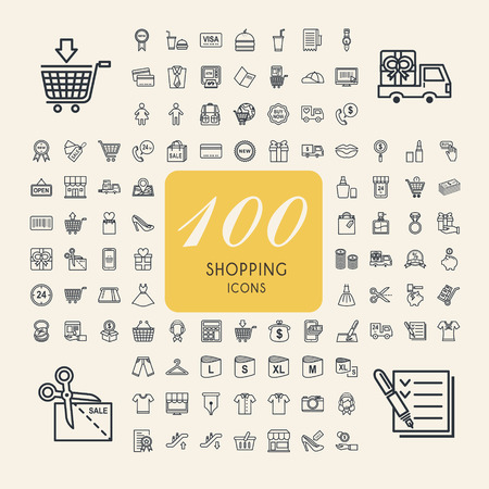 credit card icon: elegant 100 shopping icons set over beige background