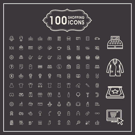 credit card icon: elegant 100 shopping icons set over dark background