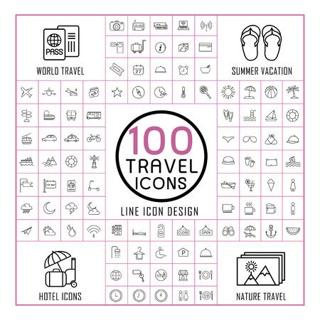 belles icônes de voyage 100 réparties sur fond blanc