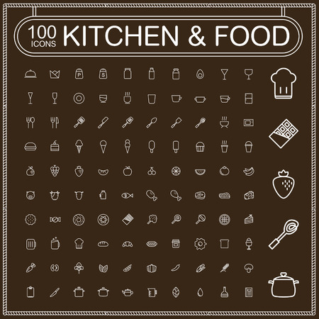 adorable food and kitchenware icons set over brown background