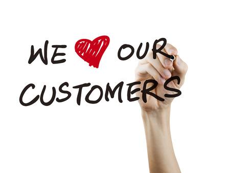 we houden onze klanten woorden met de hand geschreven op een witte achtergrond
