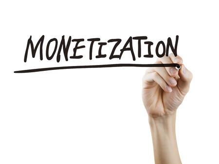 monetizing: monetization word written by hand over white background