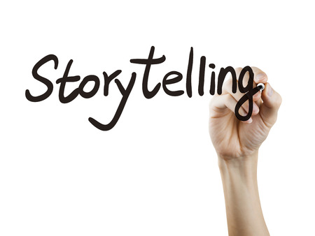 narration: storytelling word written by hand over white background Stock Photo