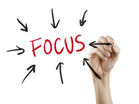 focus on the goal: focus word written by hand over white background