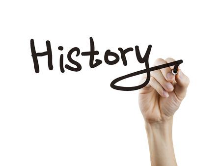 pluma de escribir antigua: palabra historia escrita por la mano sobre fondo blanco