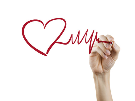 cardiological: heart and heartbeat symbol drawn by hand on a transparent board Stock Photo
