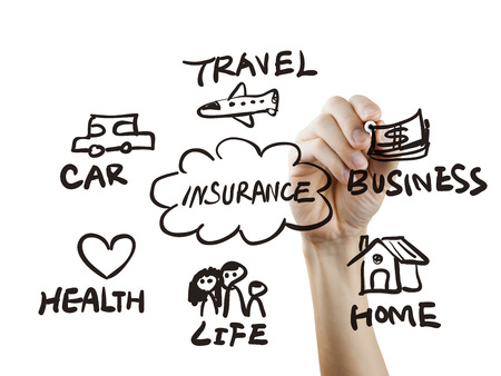 life plan: presentation of insurance drawn by hand on a transparent board