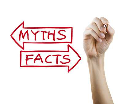 myths: myths or facts words written by hand on a transparent board