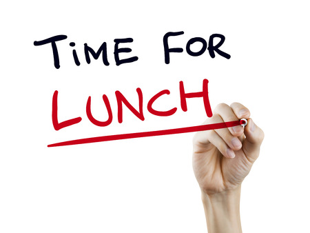 lunch time: time for lunch words written by hand on a transparent board Stock Photo