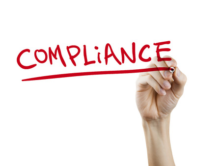 deference: compliance word written by hand on a transparent board Stock Photo