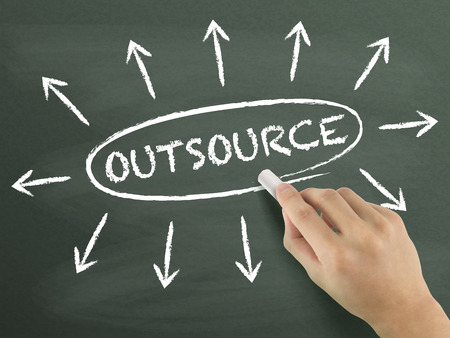 outsource: outsource concept with arrows written by hand on blackboard